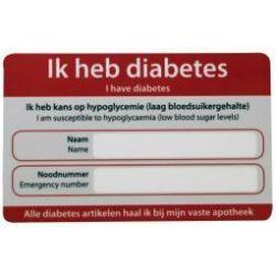 Diabetes noodkaart