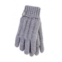 Ladies cable gloves S/M light grey